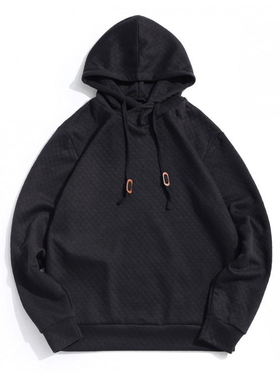 online Solid Color Drawstring Casual Hoodie - BLACK S