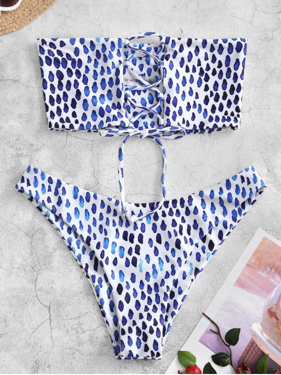 lady ZAFUL Back Lace-up Bikini Set - BLUEBERRY BLUE S