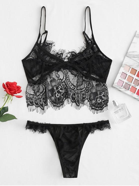 new Eyelash Lace Lingerie Set - BLACK ONE SIZE