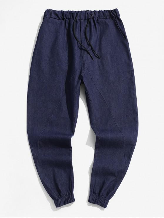 fancy Solid Color Casual Elastic Waist Pants - DEEP BLUE XL
