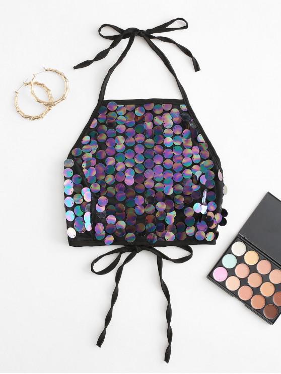 sale Tie Glitter Sequins Halter Crop Top - BLACK M