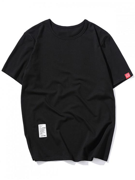 online Short Sleeve Solid Applique T-shirt - BLACK M