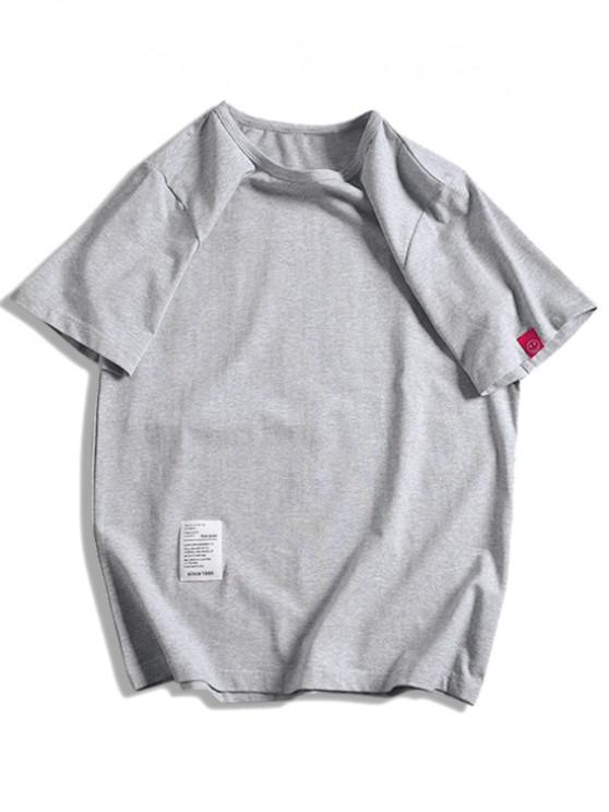 latest Short Sleeve Solid Applique T-shirt - LIGHT GRAY M
