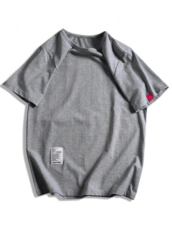 best Short Sleeve Solid Applique T-shirt - DARK GRAY XL