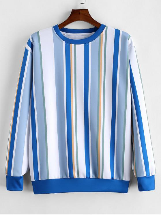 hot Colorful Striped Print Casual Sweatshirt - BLUE GRAY M