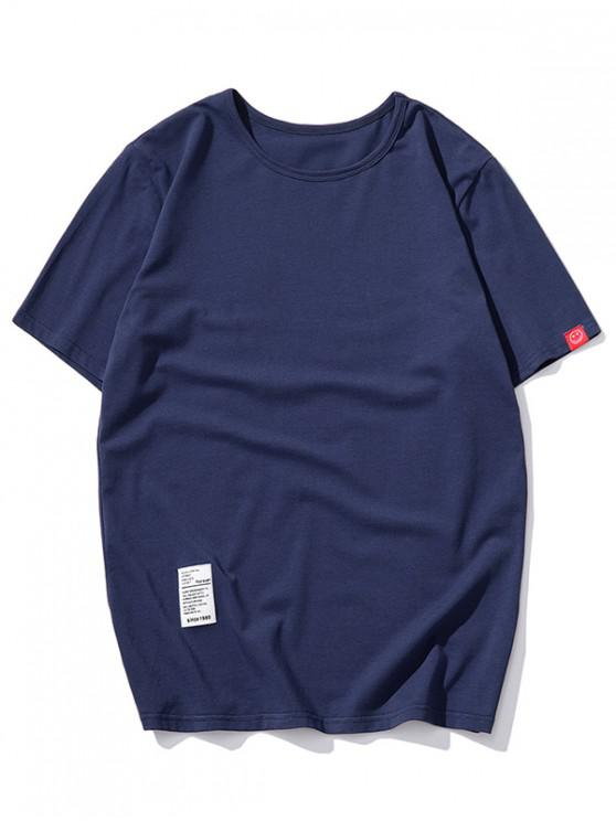 fashion Short Sleeve Solid Applique T-shirt - CADETBLUE 2XL