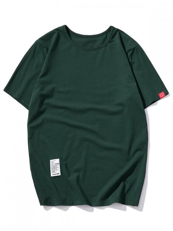 buy Short Sleeve Solid Applique T-shirt - GREEN XL