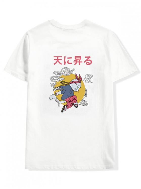 women Cartoon Cat Oriental Letter Graphic T-shirt - WHITE S