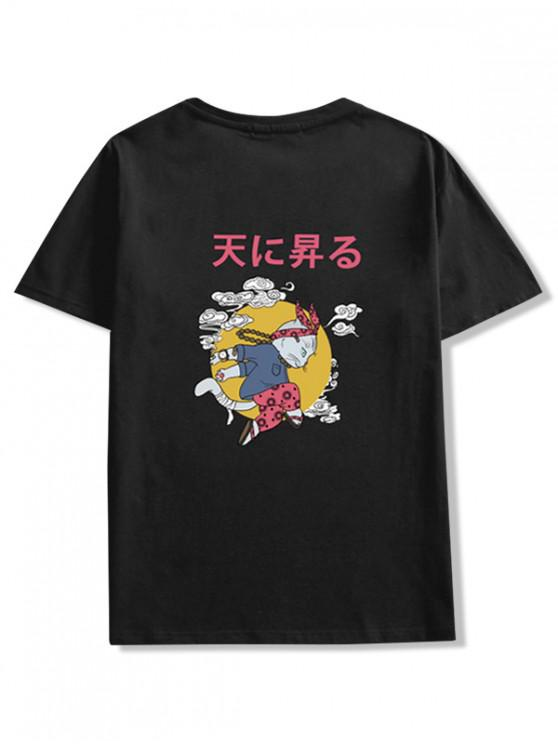 ladies Cartoon Cat Oriental Letter Graphic T-shirt - BLACK XL