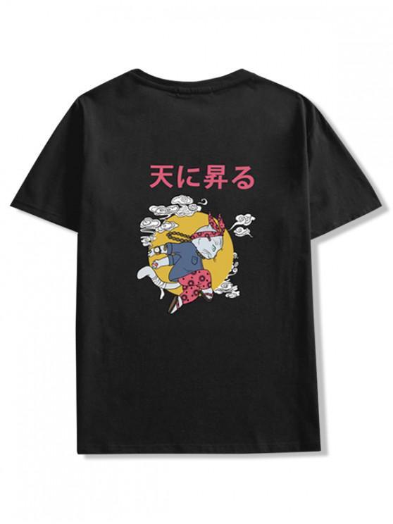 chic Cartoon Cat Oriental Letter Graphic T-shirt - BLACK M