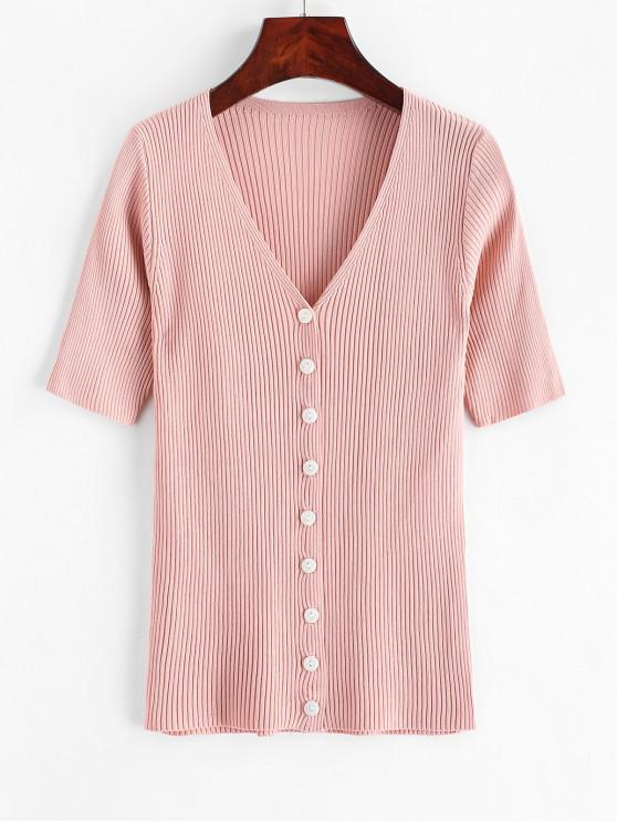 trendy Knitted Button Up V Neck Tee - PINK ONE SIZE