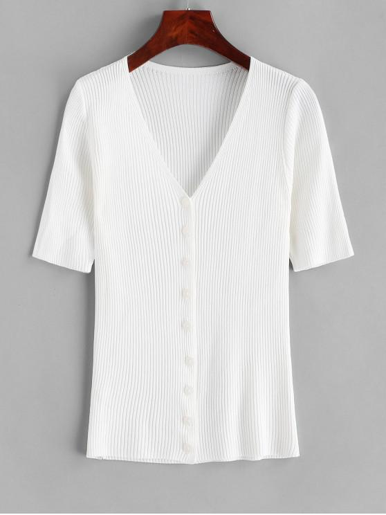 fancy Knitted Button Up V Neck Tee - WHITE ONE SIZE