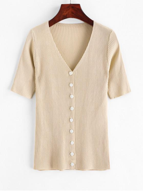 chic Knitted Button Up V Neck Tee - LIGHT KHAKI ONE SIZE