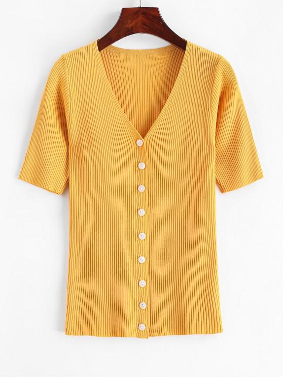 women Knitted Button Up V Neck Tee - YELLOW ONE SIZE