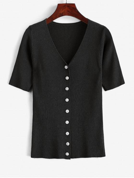 chic Knitted Button Up V Neck Tee - BLACK ONE SIZE
