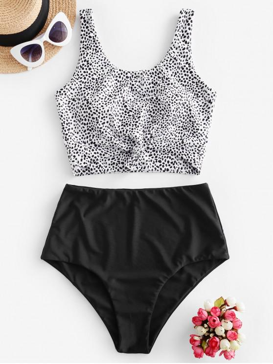 chic ZAFUL Animal Print Knotted High Waisted Tankini Swimsuit - MULTI-D L