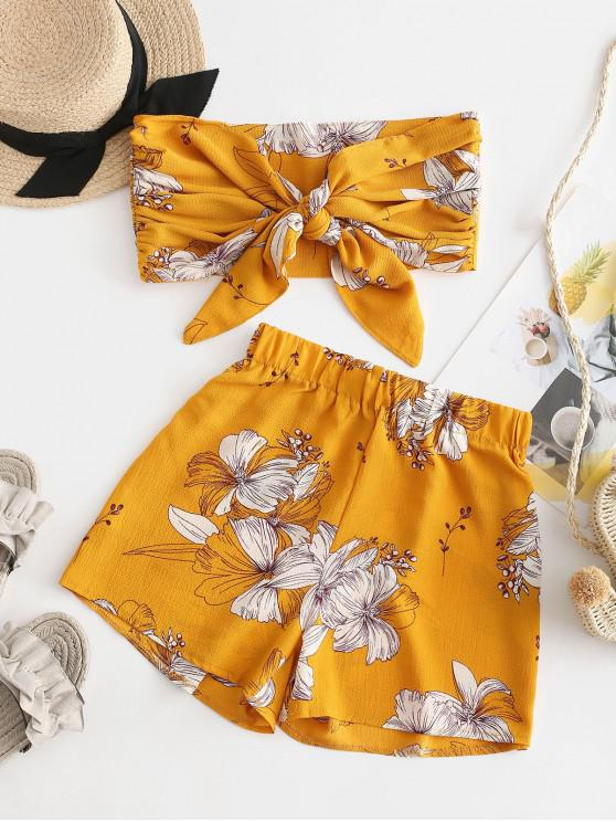 Fiore senza spalline Tie Front Wide Leg Shorts Set - Giallo M
