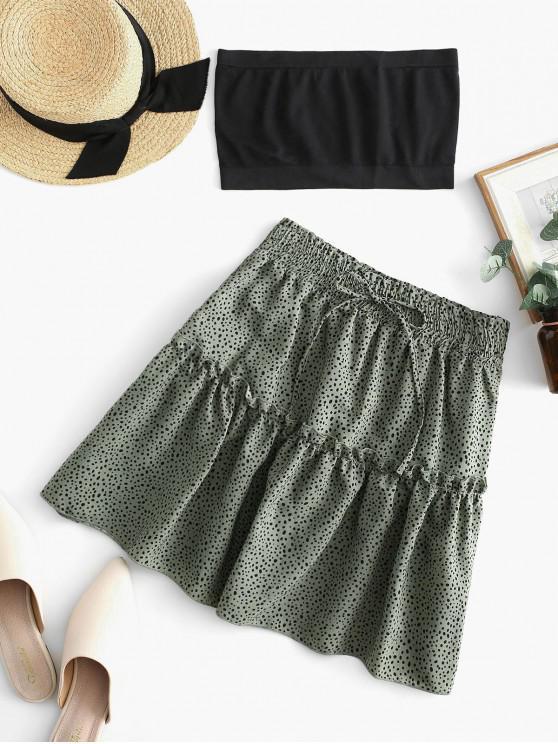 fancy Plain Bandeau Top And Dalmatian Dot Skirt Set - GREEN S