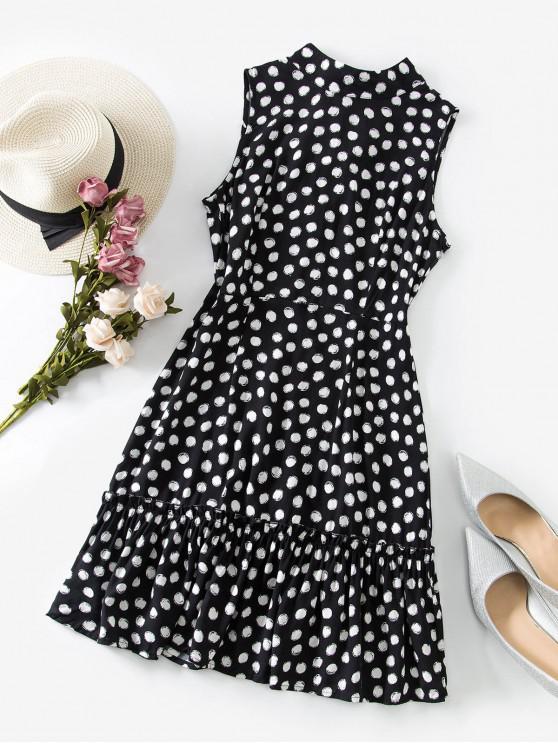 lady Sleeveless Polka Dot Tie Back Mini Dress - BLACK M