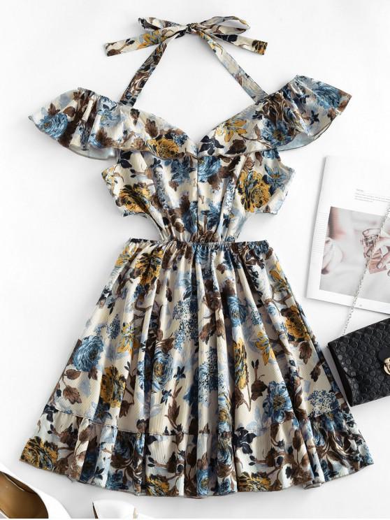 ladies Ruffle Waist Cutout Floral Dress - MULTI-A S
