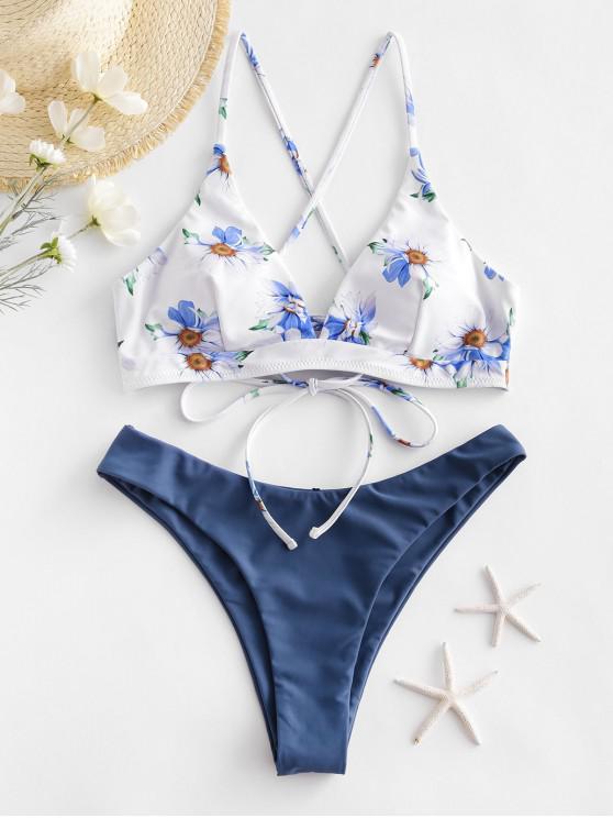 ZAFUL Hochgeschnittener Bikini Badebekleidung mit Blumenmuster - Seiden Blau S