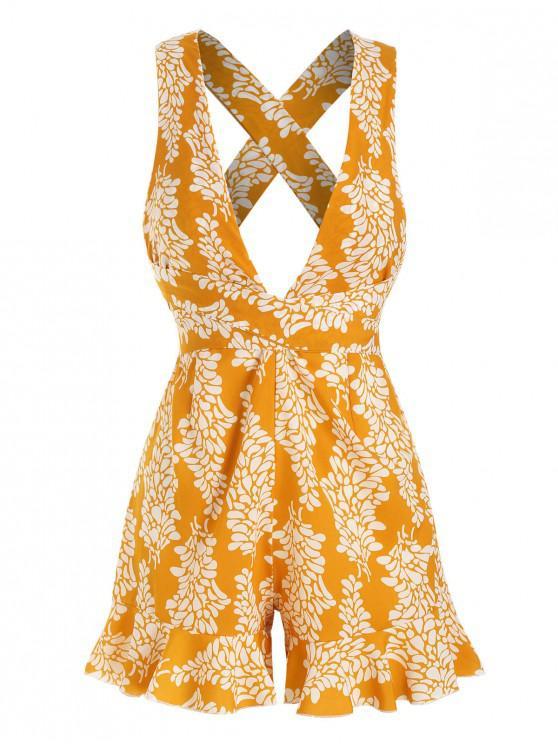 shop Tie Waist Printed Criss Cross Romper - YELLOW XL