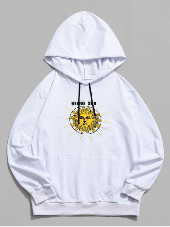 trendy Cartoon Retro Sun Letter Print Hoodie - WHITE S