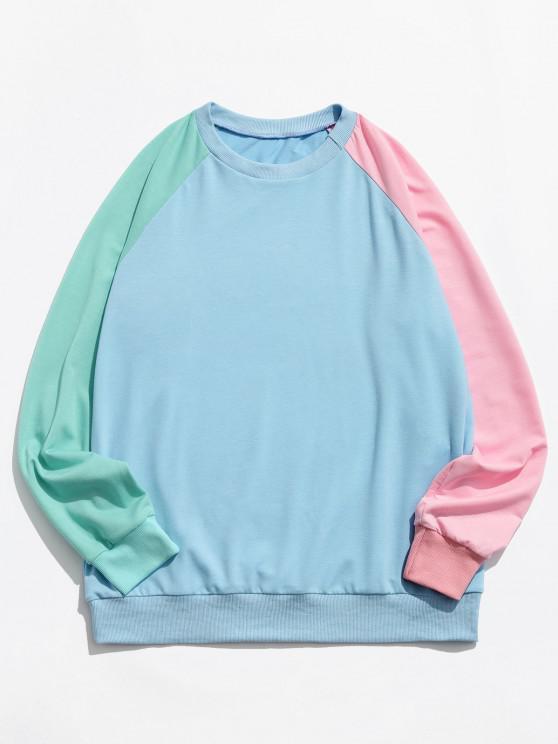 Farbblock Panel Raglanärmel Sweatshirt - Dunkles Himmelblau S