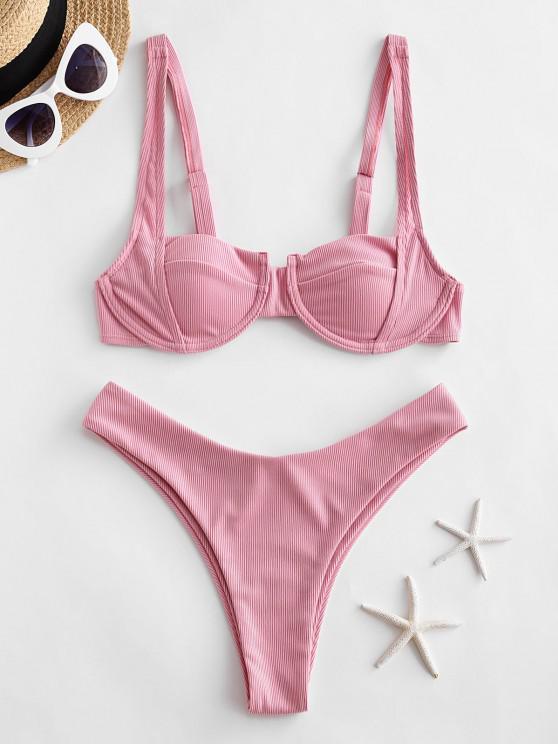 ZAFUL Ribbed Underwire High Leg Bikini Swimwear - زهري S