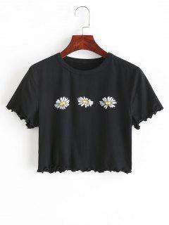 ZAFUL T-shirt Court Fleur Imprimée à Ourlet En Laitue - Noir M