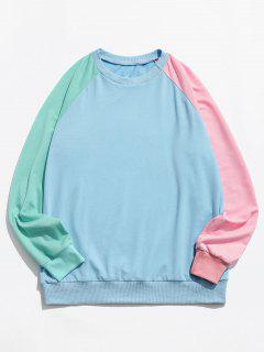 Colorblock Panel Raglan Sleeve Sweatshirt - Deep Sky Blue L
