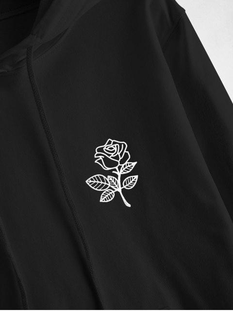 Sudadera con Capucha Cordones yBolsilloFrontalEstampado Rosa - Negro XL Mobile
