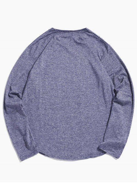 Camiseta Casual de Manga Larga y de Cuello Redondo - Azul Suave 2XL Mobile