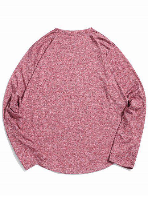 Camiseta Casual de Manga Larga y de Cuello Redondo - Vino Tinto M Mobile