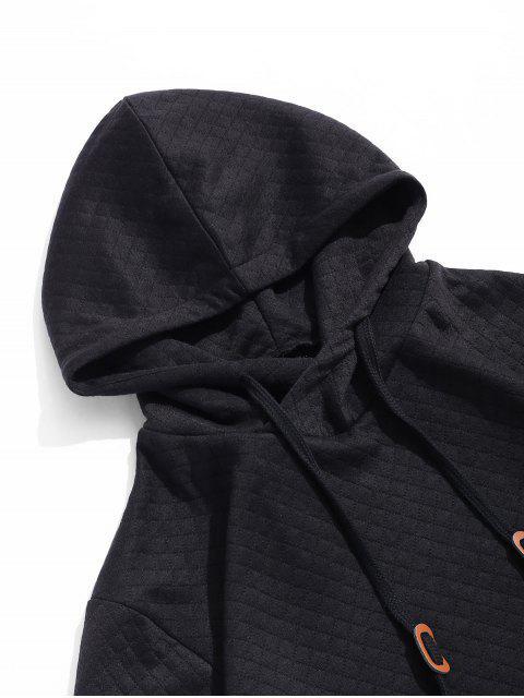 Sudadera con Capucha con Color Sólido Informal - Negro S Mobile