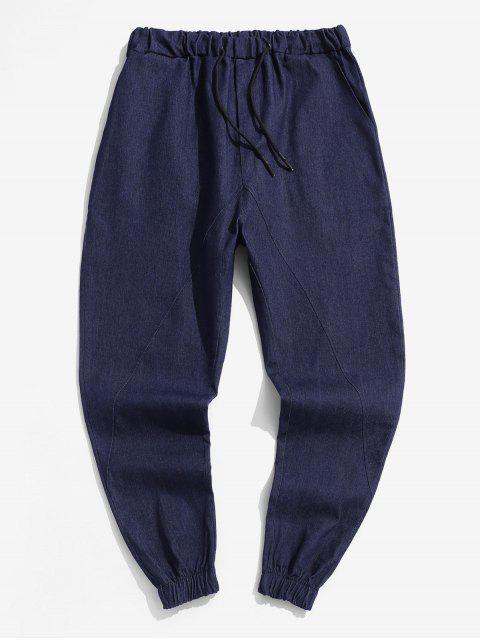 純色休閒彈力高腰褲 - 深藍 2XL Mobile