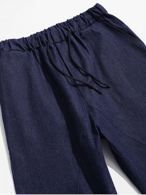 affordable Solid Color Casual Elastic Waist Pants - DEEP BLUE M Mobile