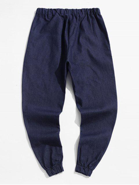 fancy Solid Color Casual Elastic Waist Pants - DEEP BLUE XL Mobile