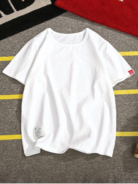 短袖固體貼花T卹 - 白色 XS Mobile