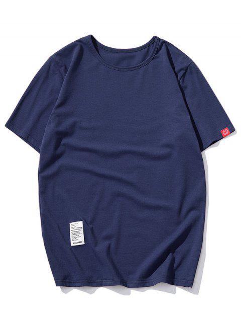 短袖固體貼花T卹 - 藏青 L Mobile