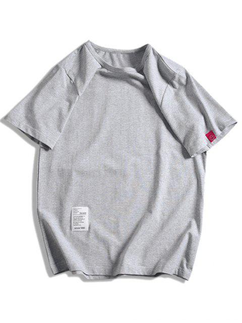 短袖固體貼花T卹 - 淺灰 L Mobile