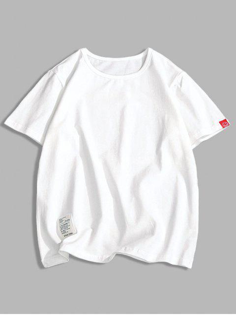 Camiseta con Mangas Cortas de Applique de Color Sólido - Blanco S Mobile