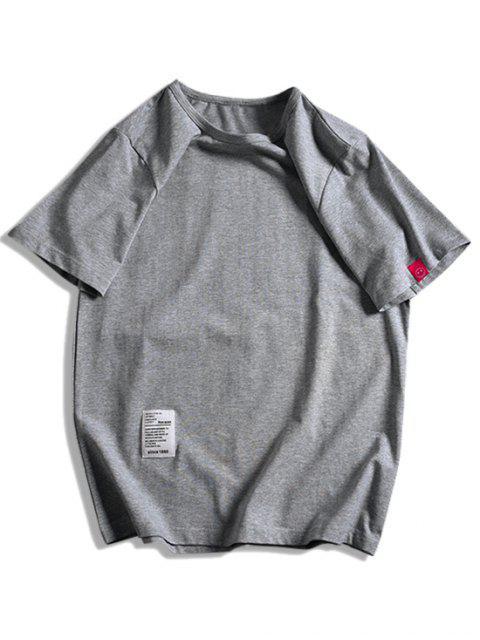 短袖固體貼花T卹 - 深灰色 XL Mobile