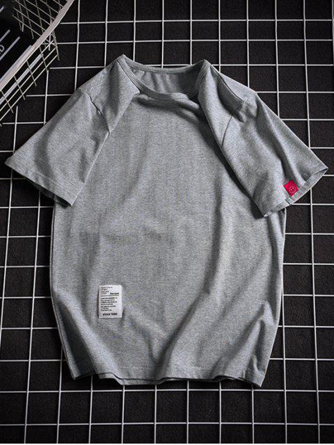 Camiseta con Mangas Cortas de Applique de Color Sólido - Gris Oscuro M Mobile