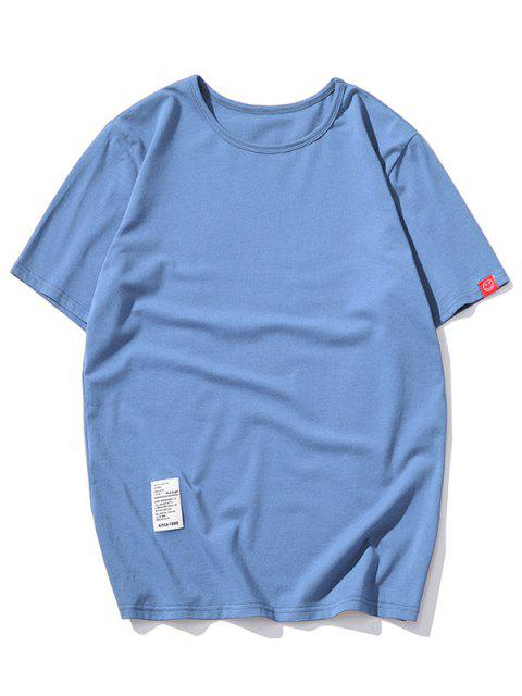 Camiseta con Mangas Cortas de Applique de Color Sólido - Azul XS Mobile