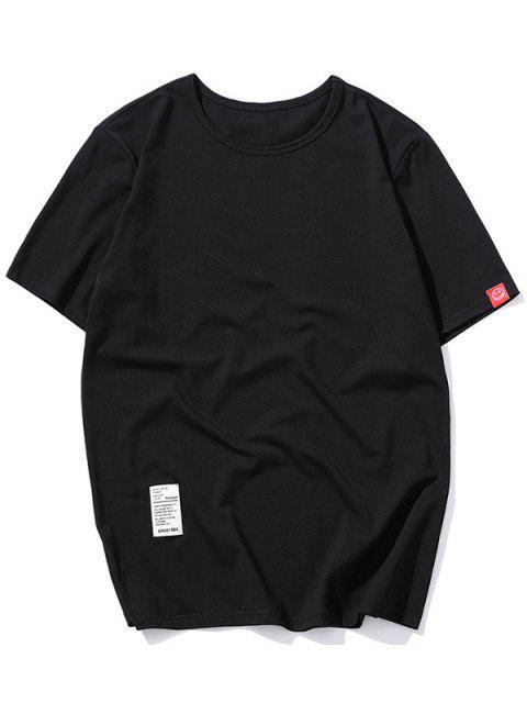 短袖固體貼花T卹 - 黑色 L Mobile