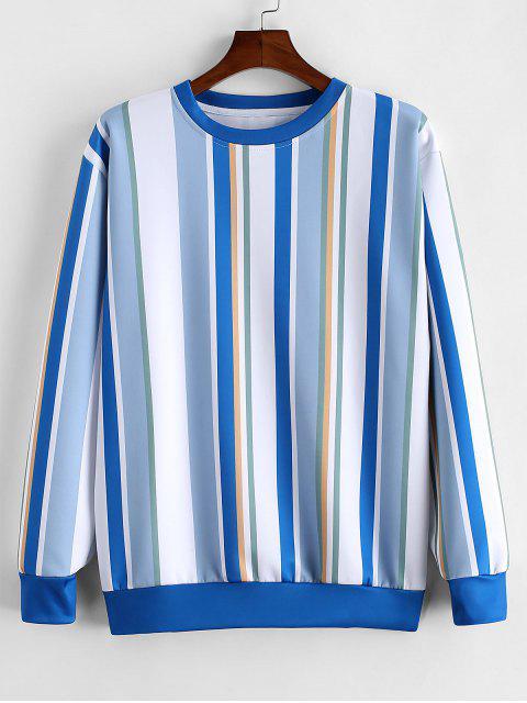 七彩條紋打印休閒運動衫 - 藍灰色 S Mobile