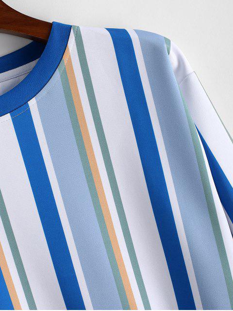 Sudadera Casual con Estampado de Rayas de Colores - Gris Azulado L Mobile