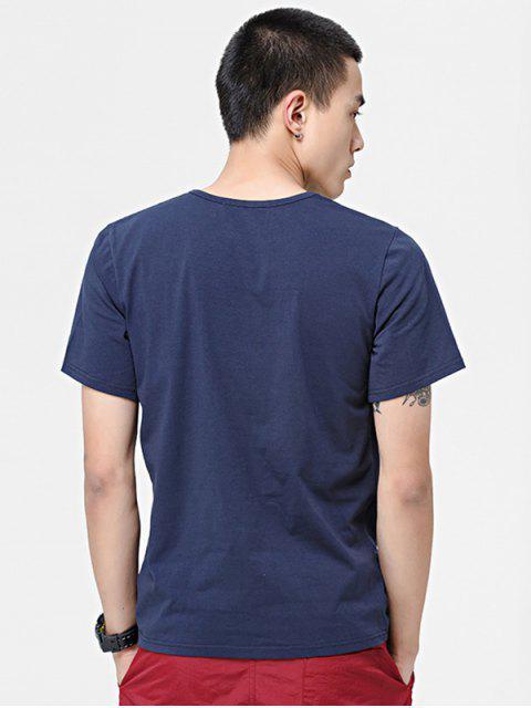 短袖固體貼花T卹 - 藏青 2XL Mobile