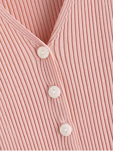 trendy Knitted Button Up V Neck Tee - PINK ONE SIZE Mobile